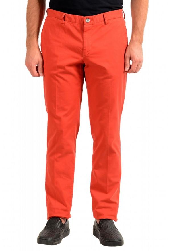 "Hugo Boss Men's ""Barlow-D"" Coral Red Flat Front Casual Pants"