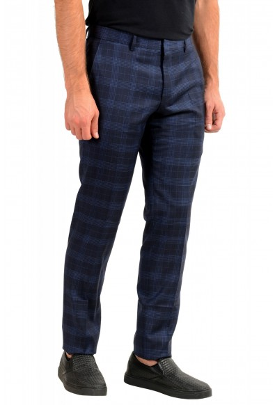 "Hugo Boss Men's ""Genius5"" Slim Fit Blue 100% Wool Plaid Flat Front Dress Pants: Picture 2"