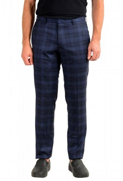 "Hugo Boss Men's ""Genius5"" Slim Fit Blue 100% Wool Plaid Flat Front Dress Pants"