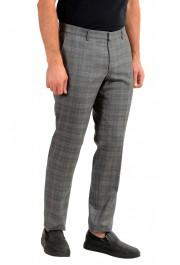 "Hugo Boss Men's ""Novan6/Be"" Slim Fit Gray 100% Wool Plaid Flat Front Dress Pants: Picture 2"