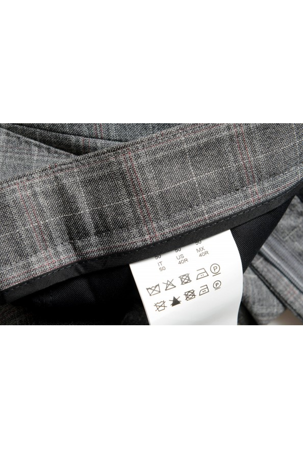 "Hugo Boss Men's ""Novan6/Be"" Slim Fit Gray 100% Wool Plaid Flat Front Dress Pants: Picture 4"