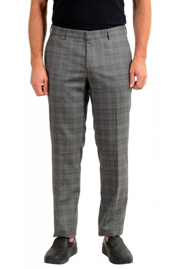 "Hugo Boss Men's ""Novan6/Be"" Slim Fit Gray 100% Wool Plaid Flat Front Dress Pants"