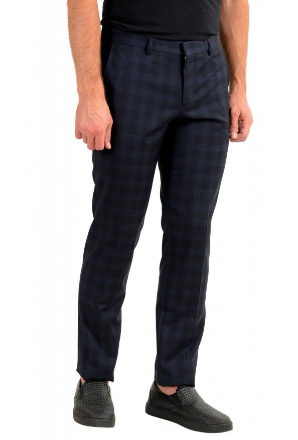 "Hugo Boss Men's ""Getlin182"" Blue Plaid 100% Wool Flat Front Dress Pants: Picture 2"
