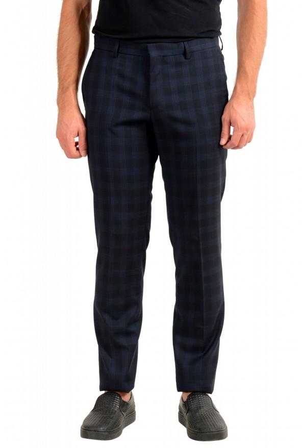 "Hugo Boss Men's ""Getlin182"" Blue Plaid 100% Wool Flat Front Dress Pants"