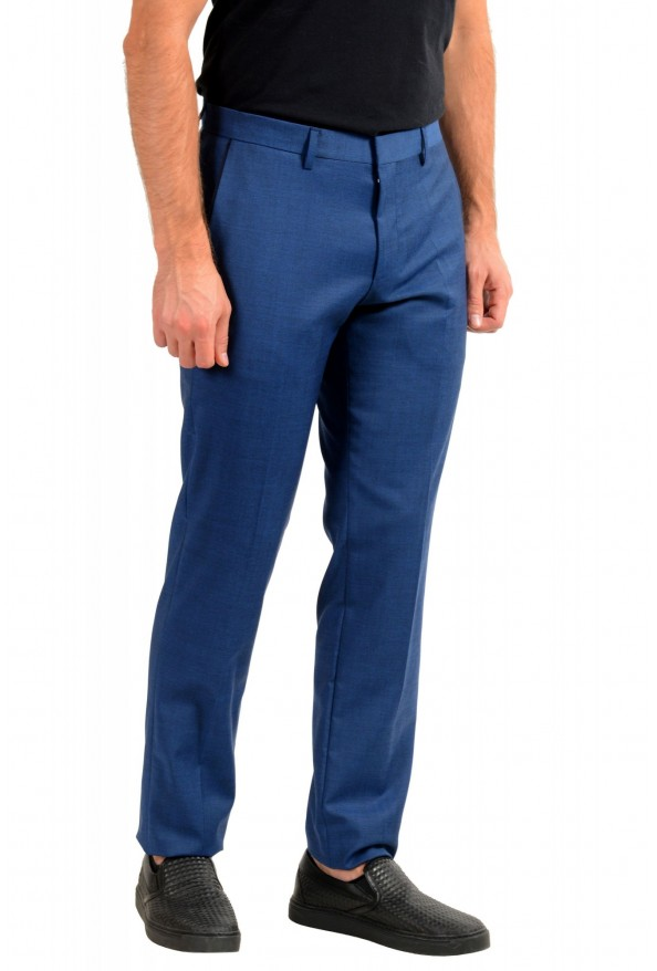 "Hugo Boss Men's ""Gido"" Blue 100% Wool Flat Front Dress Pants: Picture 2"