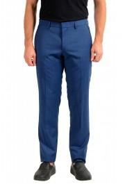 "Hugo Boss Men's ""Gido"" Blue 100% Wool Flat Front Dress Pants"