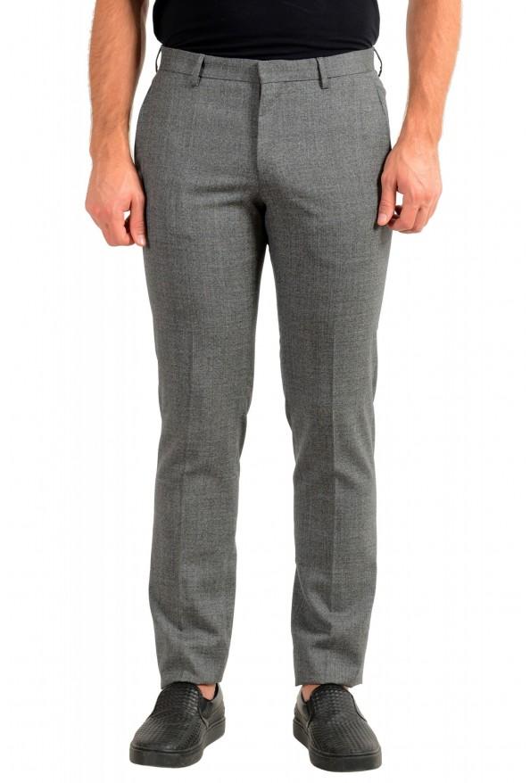 "Hugo Boss Men's ""Ben2"" Slim Fit Gray 100% Wool Flat Front Dress Pants"