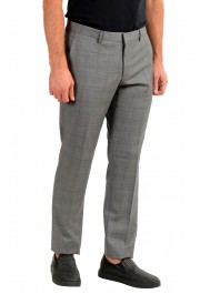 "Hugo Boss Men's ""Getlin182"" Slim Fit Gray 100% Wool Plaid Flat Front Dress Pants: Picture 2"