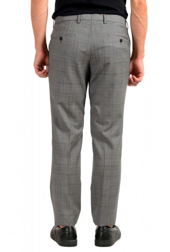 "Hugo Boss Men's ""Getlin182"" Slim Fit Gray 100% Wool Plaid Flat Front Dress Pants: Picture 3"
