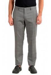 "Hugo Boss Men's ""Getlin182"" Slim Fit Gray 100% Wool Plaid Flat Front Dress Pants"