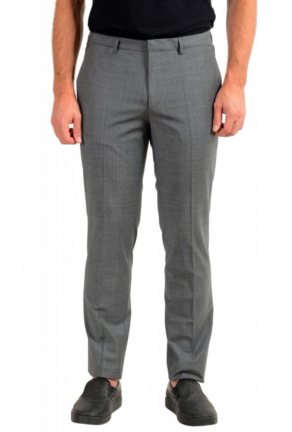 """Hugo Boss Men's """"Hesten194"""" Gray Plaid Wool Dress Pants"""