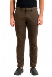 "Hugo Boss Men's ""Kaito1"" Washed Brown Flat Front Casual Pants"