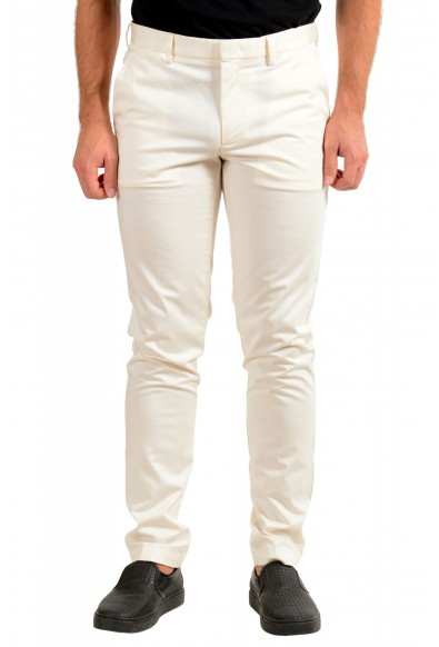 """Hugo Boss Men's """"Kaito1"""" Off White Stretch Flat Front Casual Pants"""