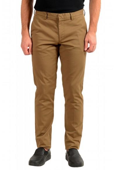 "Hugo Boss Men's ""Kaito1"" Brown Flat Front Casual Pants"