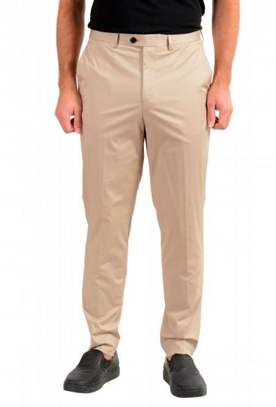 """Hugo Boss Men's """"Hening182"""" Beige Flat Front Pants"""