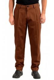 "Hugo Boss Men's ""Kirio-Pleats-Det"" Brown Striped Casual Pants"