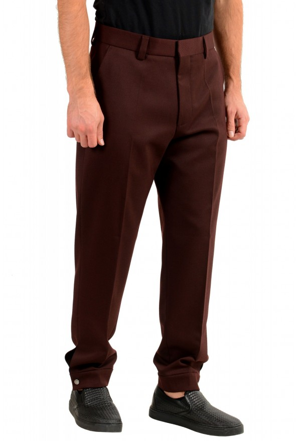 "Hugo Boss Men's ""Peet"" Burgundy Wool Striped Flat Front Pants: Picture 2"