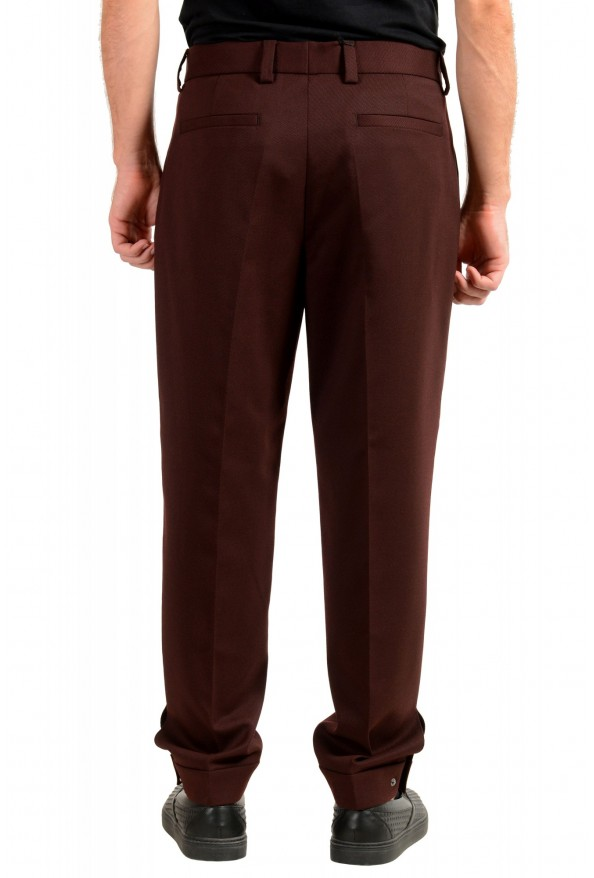 "Hugo Boss Men's ""Peet"" Burgundy Wool Striped Flat Front Pants: Picture 3"