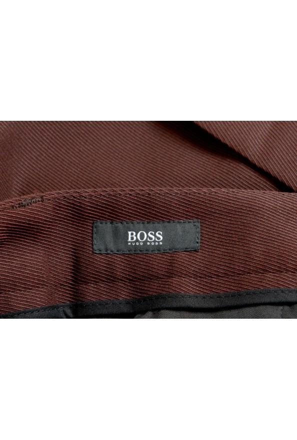 "Hugo Boss Men's ""Peet"" Burgundy Wool Striped Flat Front Pants: Picture 4"