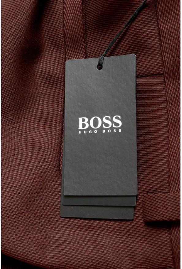 "Hugo Boss Men's ""Peet"" Burgundy Wool Striped Flat Front Pants: Picture 5"