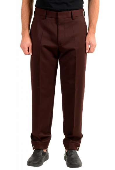 "Hugo Boss Men's ""Peet"" Burgundy Wool Striped Flat Front Pants"