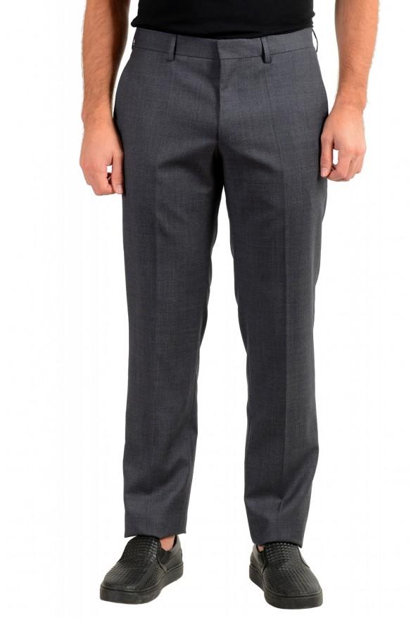 "Hugo Boss Men's ""Genesis4"" Slim FGit Gray 100% Wool Flat Front Dress Pants"
