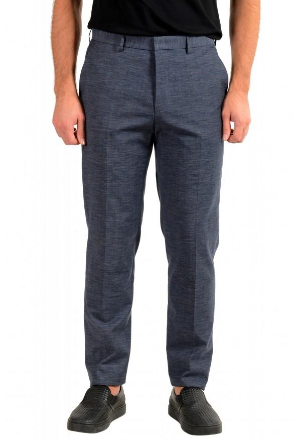"""Hugo Boss Men's """"Pirko2"""" Blue Wool Flat Front Dress Pants"""