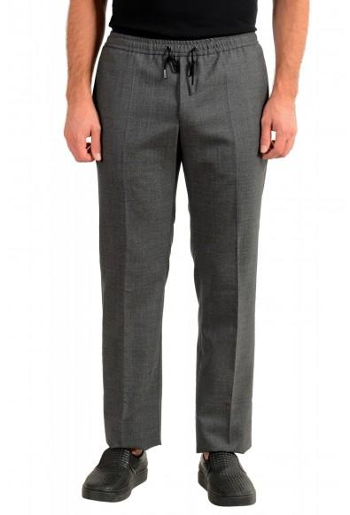 "Hugo Boss Men's ""Barne1"" Gray 100% Wool Flat Front Casual Pants"
