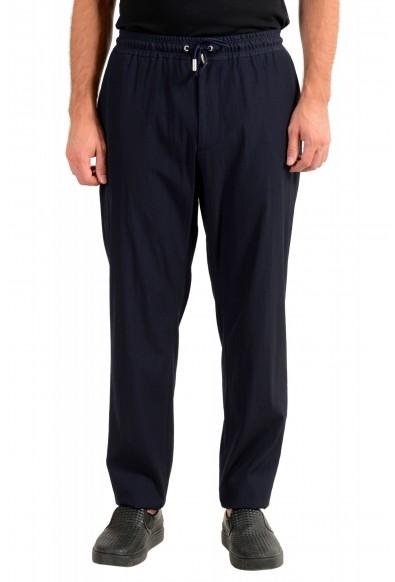 "Hugo Boss Men's ""Fox_RW"" Blue Wool Elastic Waist Casual Pants"