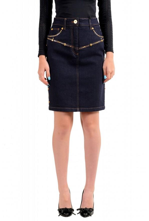 Versace Women's Blue Metal Studs Decorated Denim Pencil Skirt