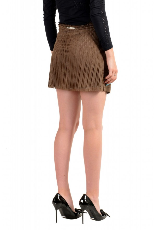 Just Cavalli Women's Suede Leather Perforated Wrap Around Skirt: Picture 3