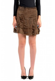 Just Cavalli Women's Suede Leather Perforated Wrap Around Skirt
