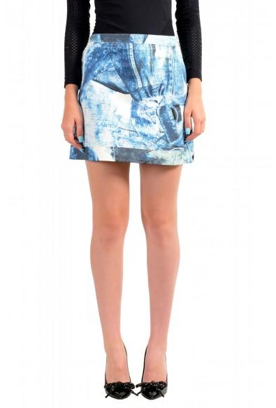 Just Cavalli Women's Blue Graphic Print A-Line Mini Skirt
