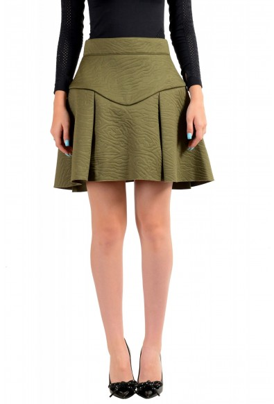 Just Cavalli Women's Olive Green Pleated A-Line Skirt