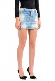 Dsquared2 Women's Blue Distressed Denim Mini Skirt: Picture 2
