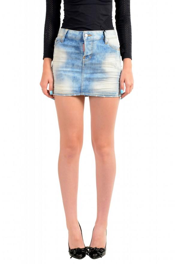 Dsquared2 Women's Blue Distressed Denim Mini Skirt