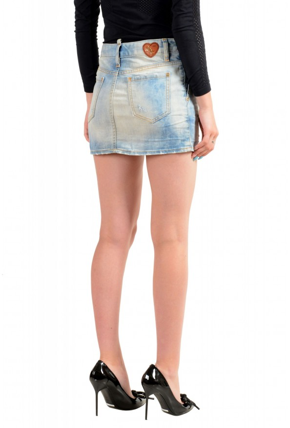 Dsquared2 Women's Blue Distressed Denim Mini Skirt: Picture 3