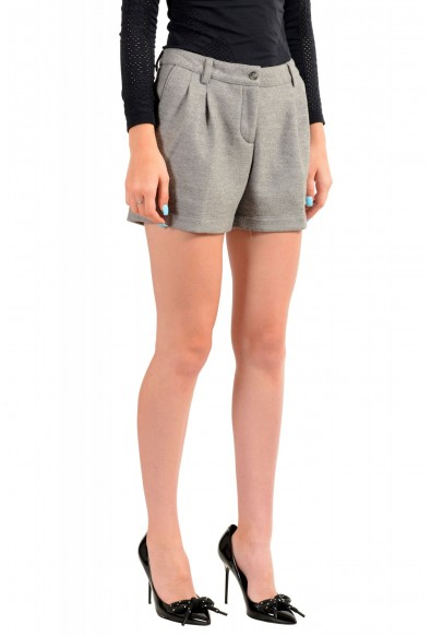 Moncler Women's Gray 100% Wool Pleated Shorts: Picture 2