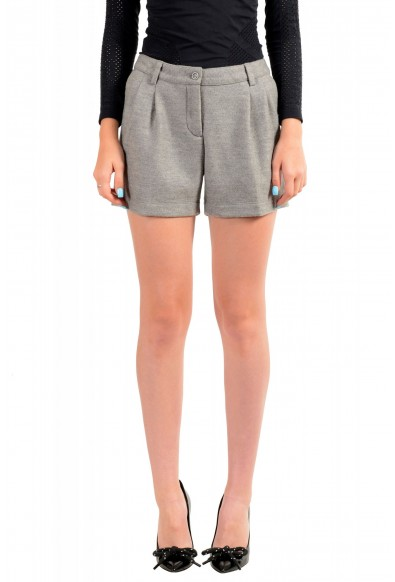 Moncler Women's Gray 100% Wool Pleated Shorts