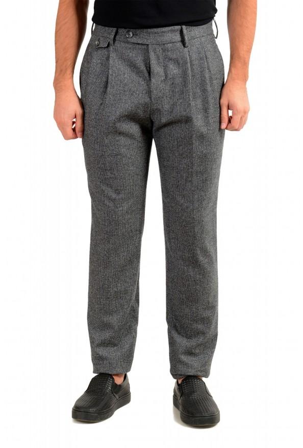 "Hugo Boss Men's ""T-Olan"" Gray 100% Wool Plaid Pleated Front Pants"