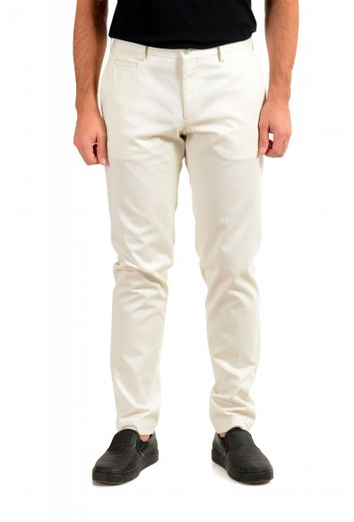"""Hugo Boss Men's """"Broad-W"""" Off White Flat Front Casual Pants"""
