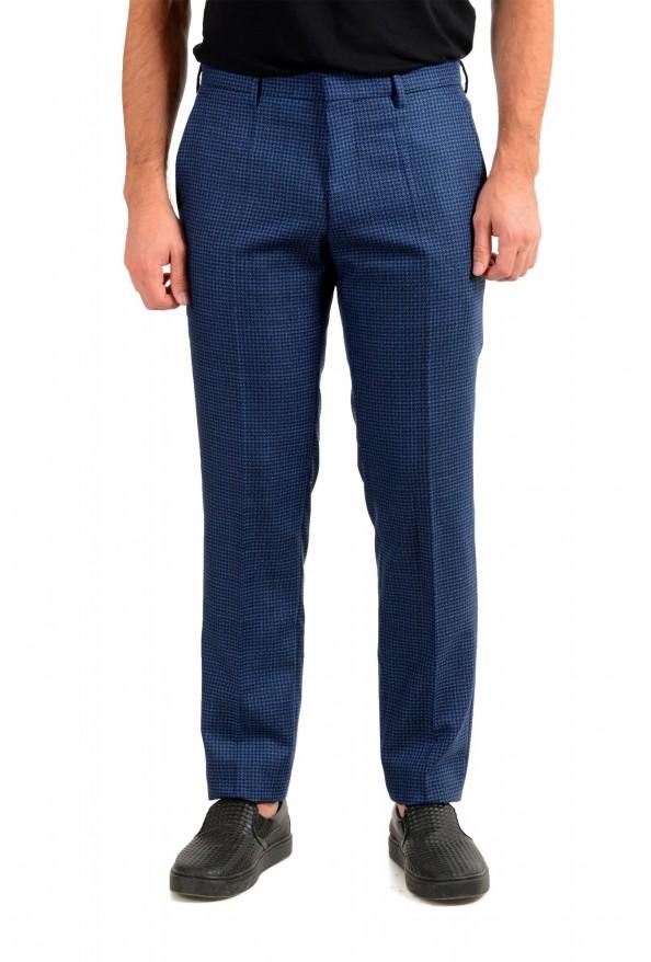 Hugo Boss Men's Genesis5 Slim Fit Plaid Blue 100% Wool Dress Pants