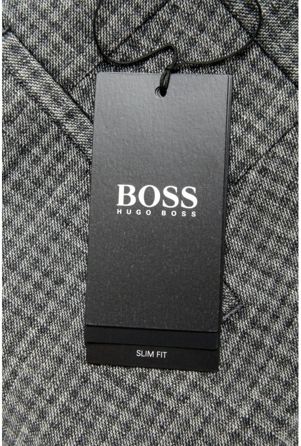 """Hugo Boss Men's """"Broad-W"""" Gray Plaid Wool Flat Front Casual Pants: Picture 4"""
