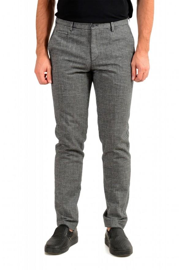 "Hugo Boss Men's ""Broad-W"" Gray Plaid Wool Flat Front Casual Pants"