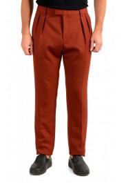 "Hugo Boss Men's ""Frencis"" Brown Wool Pleated Front Pants"