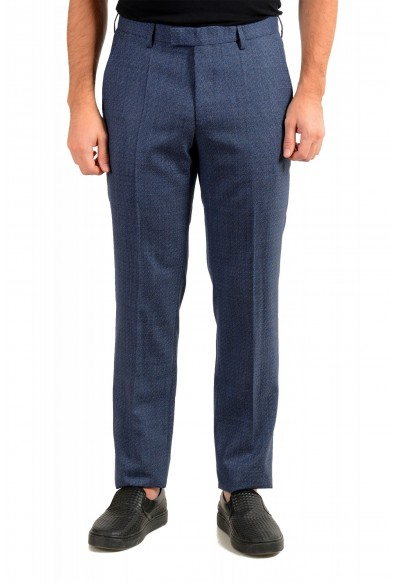 "Hugo Boss Men's ""Lenon2"" Blue 100% Wool Flat Front Dress Pants"