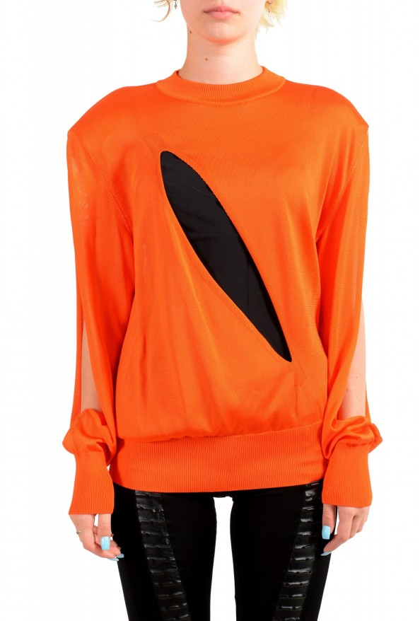 Versace Women's Bright Orange Silk Long Sleeve Sweater