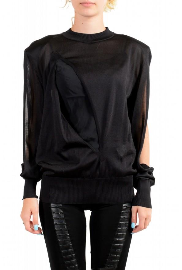 Versace Women's Black Silk Long Sleeve Sweater