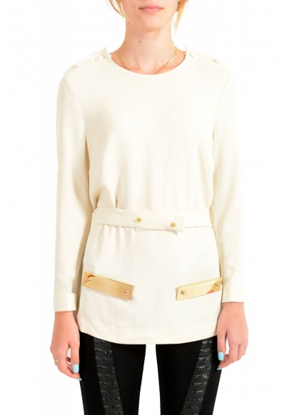 Just Cavalli Women's Ivory Long Sleeve Blouse Top