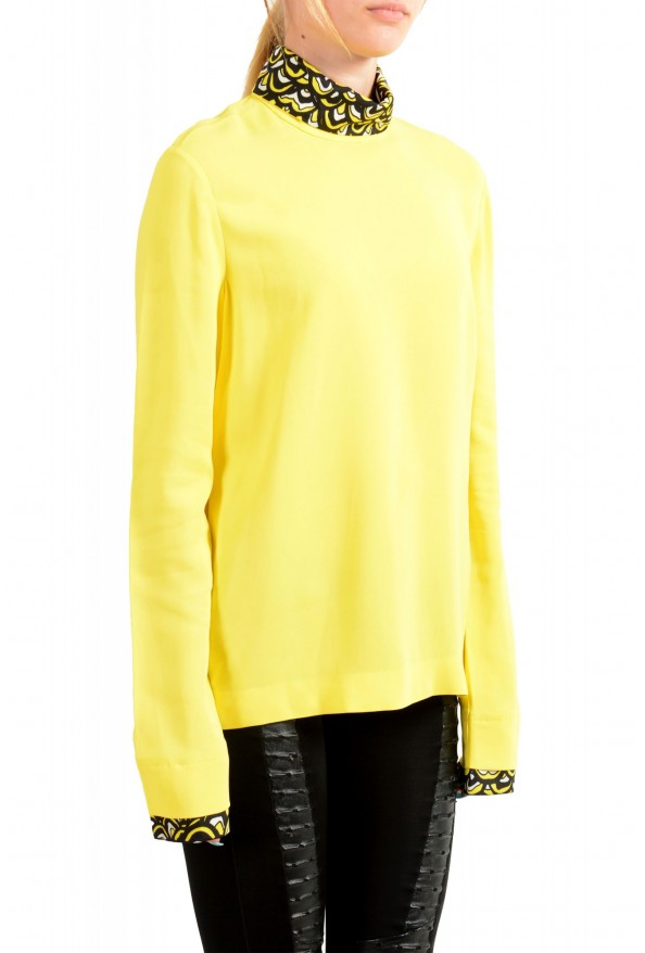 Just Cavalli Women's Bright Yellow Long Sleeve Blouse Top: Picture 2